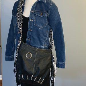 Boho Tasseled black leather purse